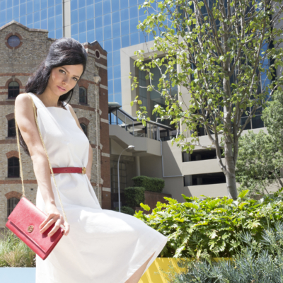 Rainbow dust sundress with cherry red travelclutch wallet and matching belt
